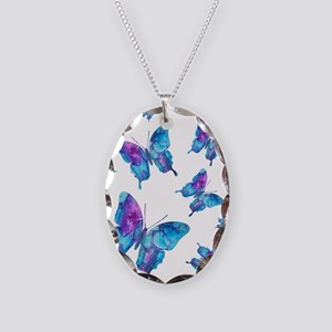 Electric Blue Butterfly Flurry Necklace Oval Charm