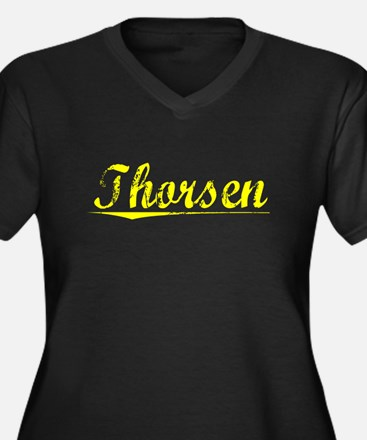 Thorsen, Yellow Women's Plus Size V-Neck Dark T-Sh