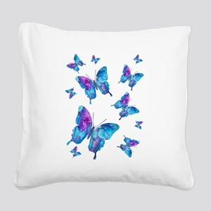 Electric Blue Butterfly Flurry Square Canvas Pillo
