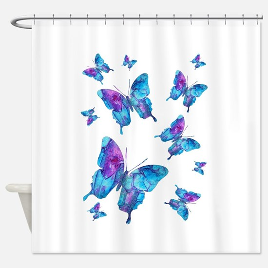 Electric Blue Butterfly Flurry Shower Curtain