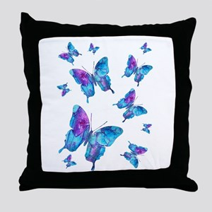 Electric Blue Butterfly Flurry Throw Pillow