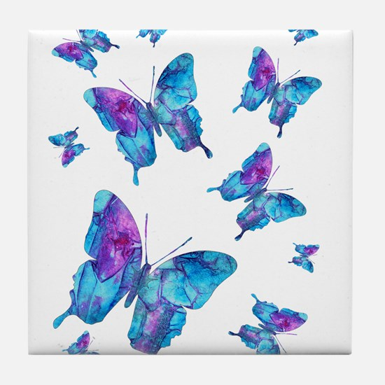 Electric Blue Butterfly Flurry Tile Coaster