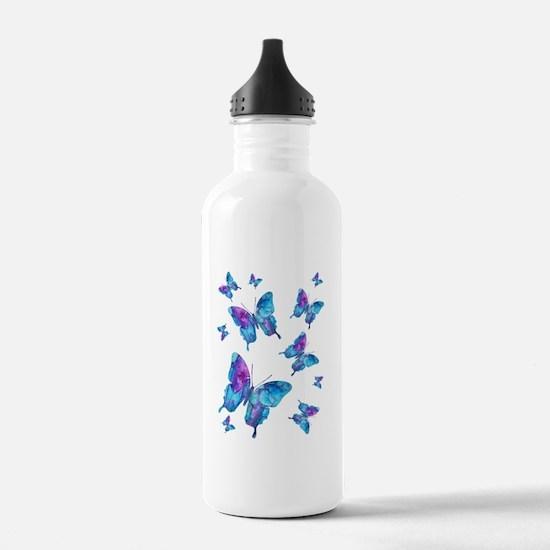 Electric Blue Butterfly Flurry Sports Water Bottle