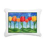 Tulip Trees Watercolor Rectangular Canvas Pillow