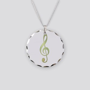 GoldTrebleClef22 Necklace Circle Charm