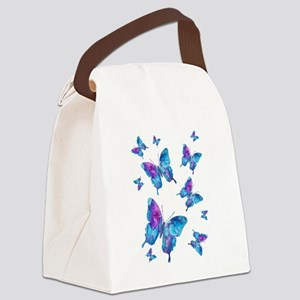 Electric Blue Butterfly Flurry Canvas Lunch Bag