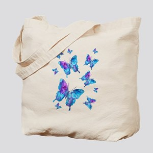 Electric Blue Butterfly Flurry Tote Bag