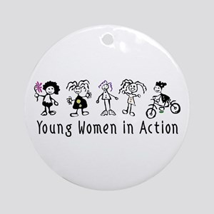 Young Women in Action Ornament (Round)
