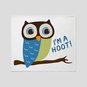 Owl Art I'm A Hoot Throw Blanket