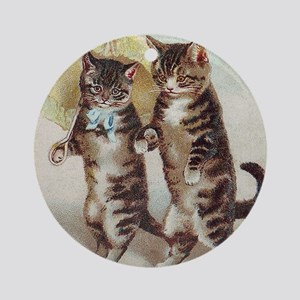 Vintage Cats Walking with Parasol Round Ornament