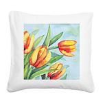 Tulips Watercolor Square Canvas Pillow