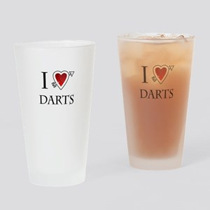 i love darts heart Drinking Glass