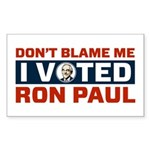 I Voted For Ron Paul Sticker (Rectangle)