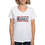 I Voted For Ron Paul Women's V-Neck T-Shirt