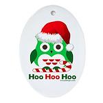 Christmas Owl Hoo Hoo Hoo Ornament (Oval)