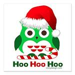 Christmas Owl Hoo Hoo Hoo Square Car Magnet 3