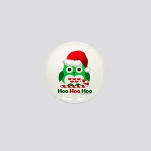 Christmas Owl Hoo Hoo Hoo Mini Button
