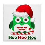 Christmas Owl Hoo Hoo Hoo Tile Coaster