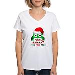 Christmas Owl Hoo Hoo Hoo Women's V-Neck T-Shirt