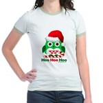 Christmas Owl Hoo Hoo Hoo Jr. Ringer T-Shirt