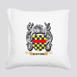 Clifford Family Crest - Cliff Square Canvas Pillow