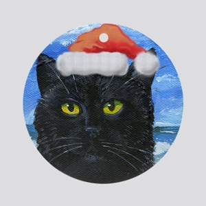 Santa Holiday Cat Ornament (Round)