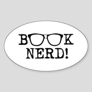 Book Nerd Sticker (Oval)