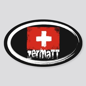 Zermatt Grunge Flag Sticker (Oval)