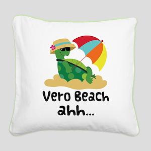 Vero Beach Turtle Square Canvas Pillow