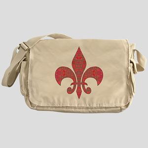 Arabesque Red Fleur De Lys Messenger Bag