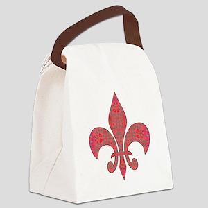 Arabesque Red Fleur De Lys Canvas Lunch Bag