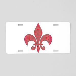 Arabesque Red Fleur De Lys Aluminum License Plate