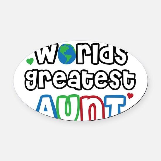 WorldsGreatestAuntsPrimary.png Oval Car Magnet