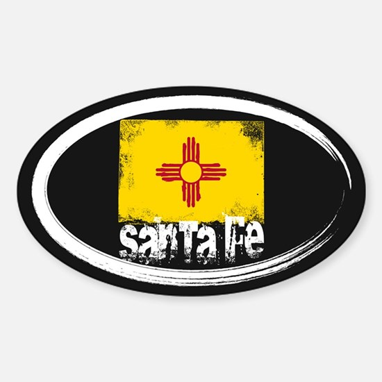 Santa Fe Grunge Flag Sticker (Oval)