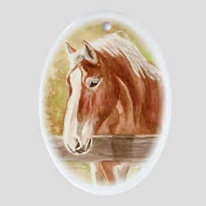 Belgian Stallion Oval Ornament