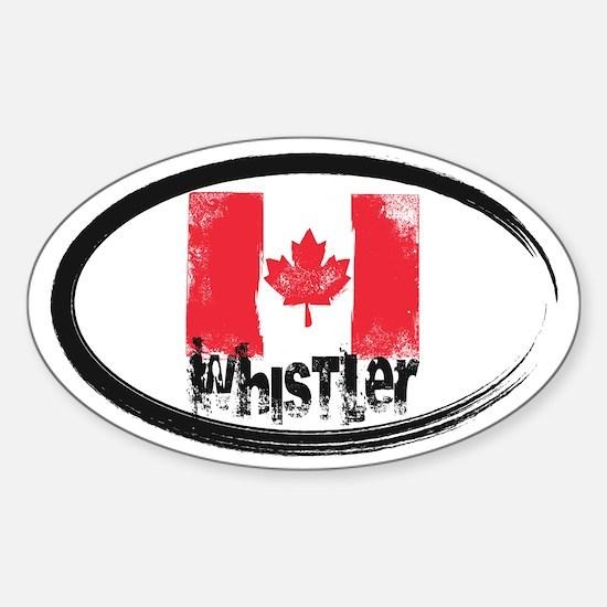 Whistler Grunge Flag Sticker (Oval)