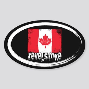 Revelstoke Grunge Flag Sticker (Oval)