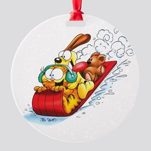 SLEDDING FUN! Round Ornament
