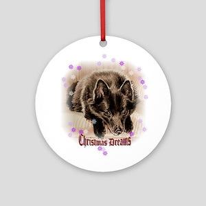 "Schipperke ""Christmas Dreams"" Ornament (Round)"