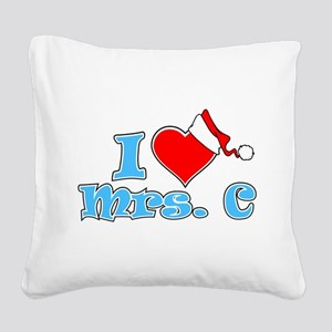 I Heart Mrs. C Square Canvas Pillow