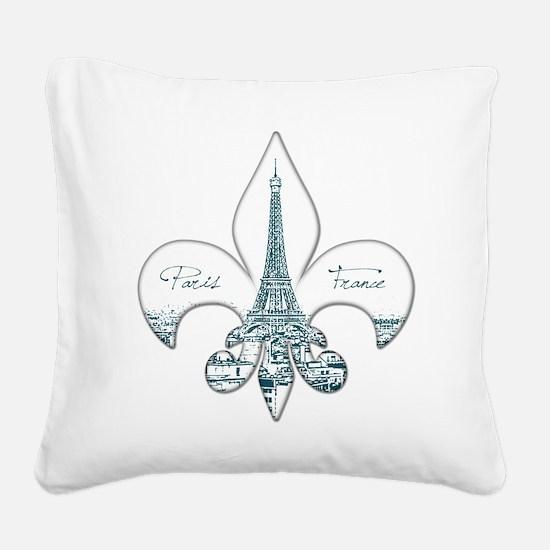 Eiffel Fleur de Lis Square Canvas Pillow