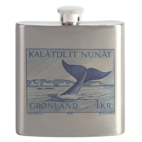 1970 Greenland Whale Tail Postage Stamp Flask