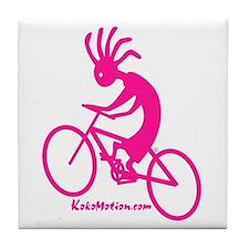 Kokopelli Mountain Biker Tile Coaster