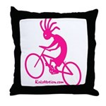 Kokopelli Mountain Biker Throw Pillow