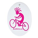 Kokopelli Mountain Biker Oval Ornament
