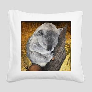 Napping Koala Bear Square Canvas Pillow