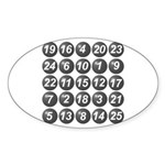numbers game 1 Sticker (Oval 10 pk)