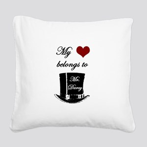 Mr. Darcy Heart Square Canvas Pillow