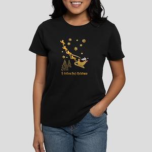 A Golden Pug Christmas Women's Dark T-Shirt