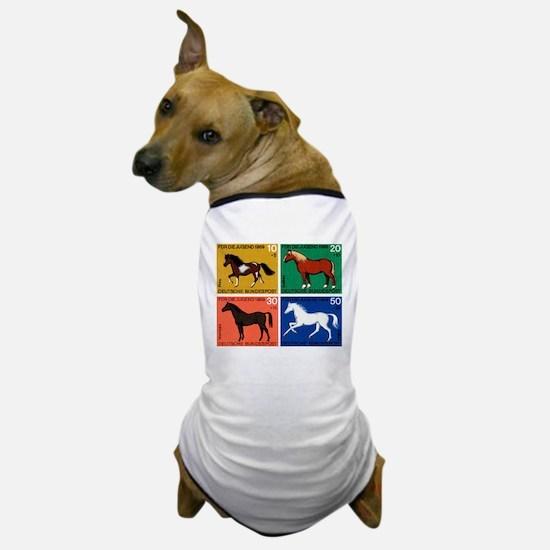 1969 Germany Horses Set Postage Stamps Dog T-Shirt